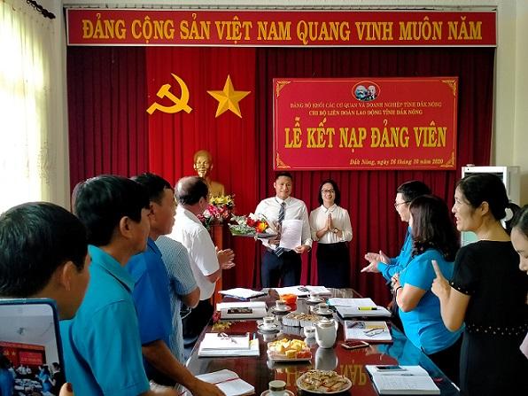Chi bộ Liên đoàn Lao động tỉnh Lễ kết nạp đảng viên